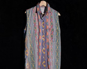 Vintage Tribal Print Long Sleeveless Button-Down Shirt
