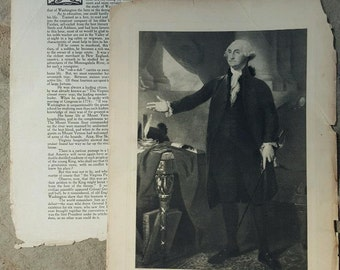 1910's Antique George Washington- Photogravure Print- Commisioned Portrait- Stuart/Edward Everett Hale,D.D. 4th of July Decor