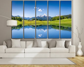 Large Wall Mountain & Lake  Canvas Color Everest Multipanel Canvas Lake  Art Large Everest Wall Art