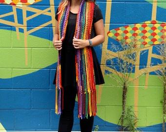 Stylized Rainbow Knit Scarf