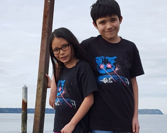 Kid Shirts: Meta Laser Cat, Space Cat Shirt, Galaxy Cat Shirt, Kid Cat Shirt, Kids Youth Boy or Girl Shirt, Funny Cat Shirt, Cat Joke
