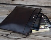 Leather Portfolio / Tablet Case / Handmade Leather Pouch / Mens Zipper Bag /  Large Zipper Clutch / Mens Gift