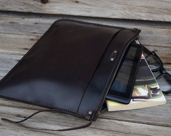 Leather Portfolio  Clutch / Handmade Leather Pouch /READY TO SHIP / Mens Zipper Bag /  Leather Clutch / Large Zipper Clutch / Feral Empire