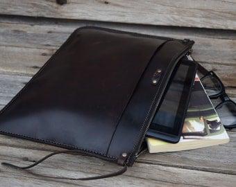 Leather Portfolio  Clutch / Handmade Leather Pouch / Mens Zipper Bag /  Leather Clutch / Large Zipper Clutch / Feral Empire