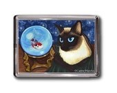 Siamese Cat Magnet Crystal Ball Koi Fish Fortune Fantasy Cat Art Framed Magnet Gofts For Cat Lovers