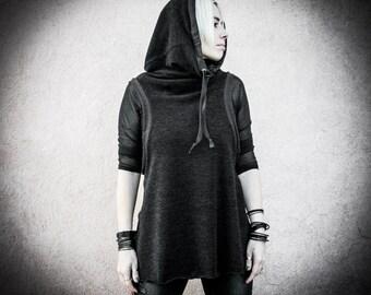 FREMEN - Sleeveless Black Sweater Urban Nomad Turtleneck Hood Goth Post Apocalyptic Edgy Tank Alternative Apparel