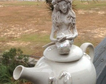 Porcelain Mermaid Teapot - Handmade, Functional and Decorative