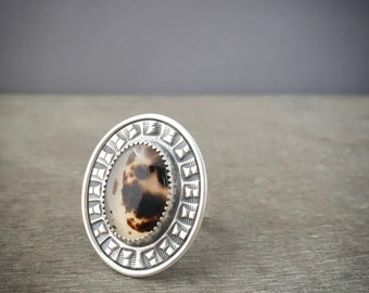 Montana agate ring - statement ring - size 7.5 ring - unique ring - natural stone ring - large stone ring