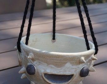 Hand-thrown ceramic Fugu Fish hanging planter