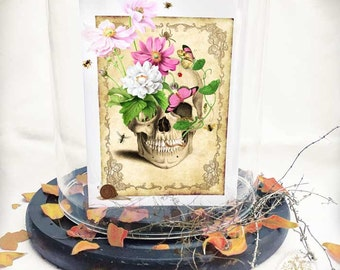 Halloween skull card, day of the dead card, vintage Gothic holiday greeting, blank inside