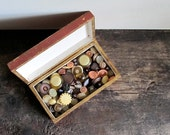 Assortment of 100 Vintage Brown, Beige, Yellow and Creamy Shank Buttons in Vintage Rustic Wood Box