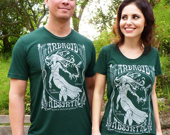 Android Absinthe Couples Shirts - Geek Couples Gifts - Valentines Day Shirts - Absinthe Tshirts - Art Nouveau SciFi Graphic Tees
