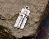 Artisan Long Cross in Sterling Silver, 437d, Peace Cross Charm