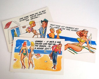 Giant Cartoon Postcards, Jumbo Laff Card, Mid Century Sexist Cards, Humorous Kitsch Cards, Vintage Ephemera, Beach Postcards, Craft Supplies