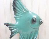 Vintage Chalkware Fish Wall Plaque Art Hanging Aqua Green Retro