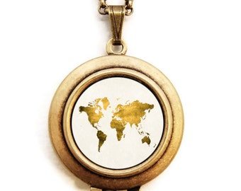 World Map Locket - Let Love Light The Way Gold World Map Photo Locket Necklace