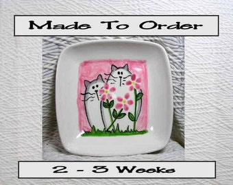 Cats & Pink Flowers On Square Ceramic Dish Handmade Pet Dish by Gracie
