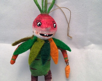 Vegetable Boy OOAK miniature feather tree spun cotton ornament veggie by Maria Paula folk art Halloween decoration