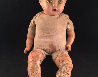 Antique/Vintage Creepy Well Loved Composition Baby Doll with Sleepy Eyes