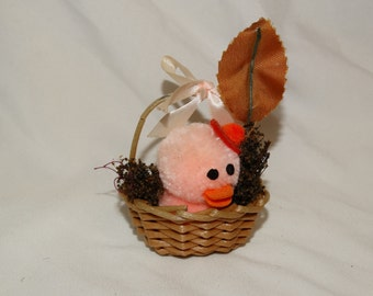 Rare Vintage Chenille Pink Easter Duck in Basket, Circa 1960's Easter Basket Decoration, Easter Duckling, Pink Duck