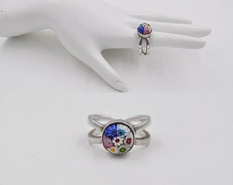 Vintage 925 Silver Millefiori Glass Ring, Multicolor, Flowers, Mod, Bold, Size 7 3/4, Way Cool Ring! #b437