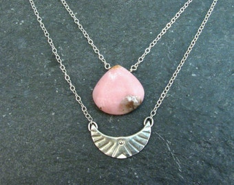 Pink Opal Layered Necklace Set - Double Layer Necklace - Silver Blush Jewelry - Tribal Bird Necklace - Silver Freedom Jewelry