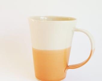 Handmade Mug, Modern Mug with Simple Dipped Design, Orange and White, Porcelain Mug, Modern Mug, Colorful Mug, Coffee Cup