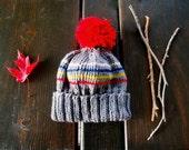 Baby Beanie   Hand Knit Baby Hat   Winter Hat   Pom Pom Hat   Children Striped Hat