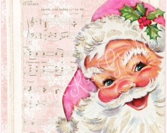 Pink Santa Christmas Time is Here Large digital download  ECS buy 3 get one free  single image printable ECS