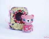 Miniature bear doll, Pink bear, Artist bear, Mini bear, Tiny bear, Miniature teddy bear, Dollhouse teddy bear, Miniature toy