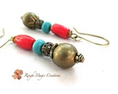 Turquoise & Red Coral Earrings. Boho Earrings. Antique Brass. Extra Long Bohemian Dangles. Southwestern Colors. Turquoise Magnesite Stones