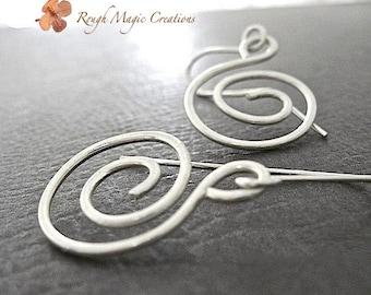 Sterling Silver Earrings. Sterling Jewelry. Silver Earrings. Abstract Minimalist Earrings. Spiral Swirl Dangle Drop Earrings. Womens Jewelry