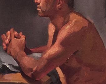 "Art Painting Figure Figurative Portrait ""Humble Prayer"" Original oil by Sarah Sedwick 12x16"