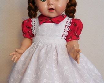 For 16 Inch Saucy Walker Doll, Dress and Eyelet Pinafore for Christmas or Anytime