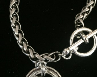 Silver Bracelet with Vintage Chanel Button