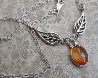 Sterling Silver Leaf and Banded Agate Pendant Necklace