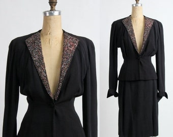 SALE- 1940s Sequin Suit . Two Piece