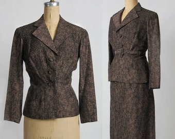 SALE- 1940s BEADED Suit 2pc Blazer and Skirt . Two Piece . Speckled Brown