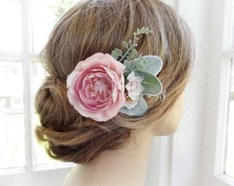 pink hair flower, bridal hair clip, wedding headpiece, peony hair clip, pink hairpiece, wedding headpiece, floral hair accessories pink