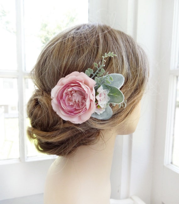 Wedding Hair Flowers Pink : Pink hair flower bridal clip wedding headpiece peony