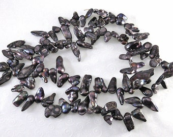 Gunmetal Asian Sea Blister Pearls - 16-inch Strand - Top Drilled - 11mm to 25mm drops