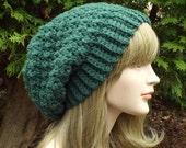 Pine Green Crochet Hat, Womens Slouchy Beanie, Oversized Slouch Beanie, Chunky Hat, Slouchy Hat, Winter Hat, Slouch Hat