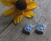 dangle earrings silver plated pewter irish rose design epoxy clay square sculpted drops lapis color botanical