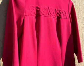 Vintage 60s 1960s Swinging Mod Hot Pink Fuscia Party Dress L
