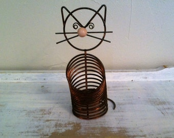 Copper Wire Cat Letter Holder , Wire Cat Mail Holder , Vintage Wire Desk Organizer , Retro Slinky Kitty With Whiskers
