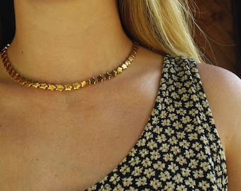 Vintage 80s 90s Star Chain Choker Necklace