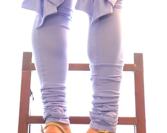 Thigh High Leggings with Bows - Fashion Leg Warmers in Lavender - Lots of Colors