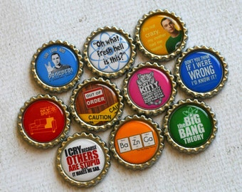 Big Bang Theory Bottlecap Magnets- Sheldon, Leonard, Penny, Howard, Raj, Bernadette- Set of 10 Big Bang Theory TV Show Magnets- Science Gift