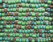 Machu Picchu Opaque Aged Picasso Mix Czech Glass 8mm Vintage Tube Beads and 31/0 (8x5mm) Czech Glass Seed Beads - 10 Inch Strand (DW180)