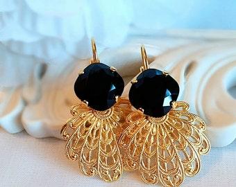 Renaissance Earrings - Black - Gold Jewelry - FLORENTINE Jet